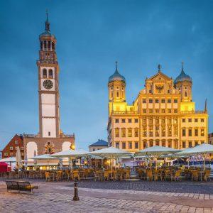 Augsburg, Germany townscape at Rathausplatz Plaza.
